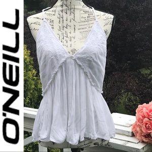 🌸 O'NEILL Davina White Embroidered Halter Sz M